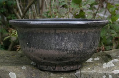 40cm Aegean Glazed Bowl (charcoal)
