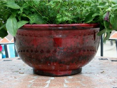 40cm Aegean Glazed Bowl (ruby red)
