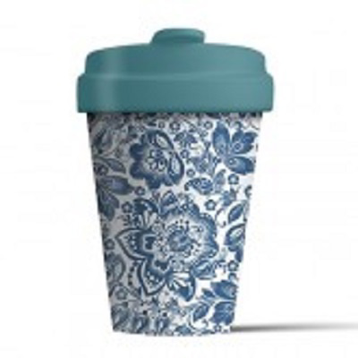 Bamboo Cup (Blue Flowers)