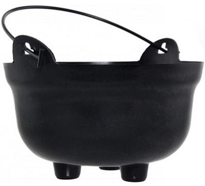Black Plastic Cauldron Pot (26cm)