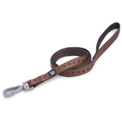 Brown Dots Dog Lead (small)