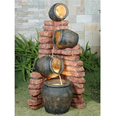 4 Pots on Brick Water Feature (120cm)