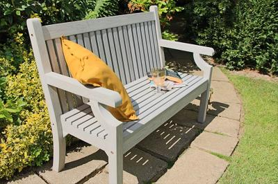 Sandwick Wood Effect 3 Seater Bench (stone grey)