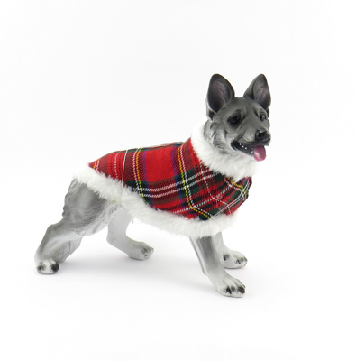 19cm Alsatian Dog with Tartan Coat