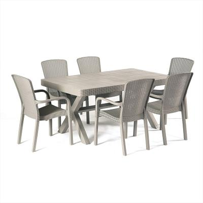 Crete 6 Seater Dining Set (Plastic Wood-Effect)