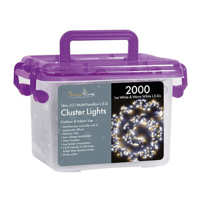 2000 LED Cluster Lights Warm/Ice Mix