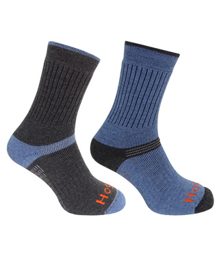 HOGGS TECH-ACTIVE SOCKS (TWIN PACK)